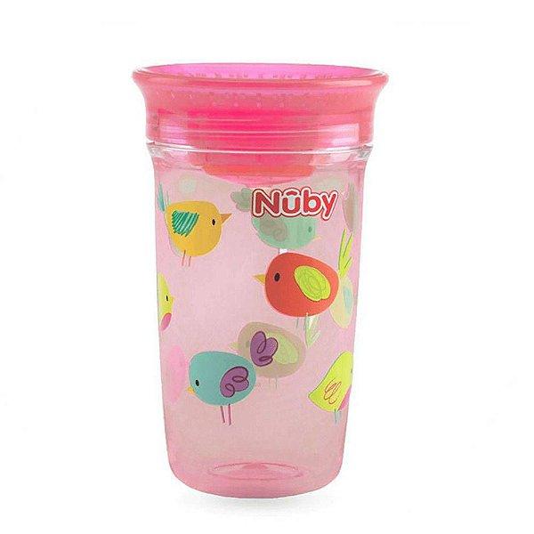 Copo 360 Nuby Wonder Cup com tampa higiênica Rosa