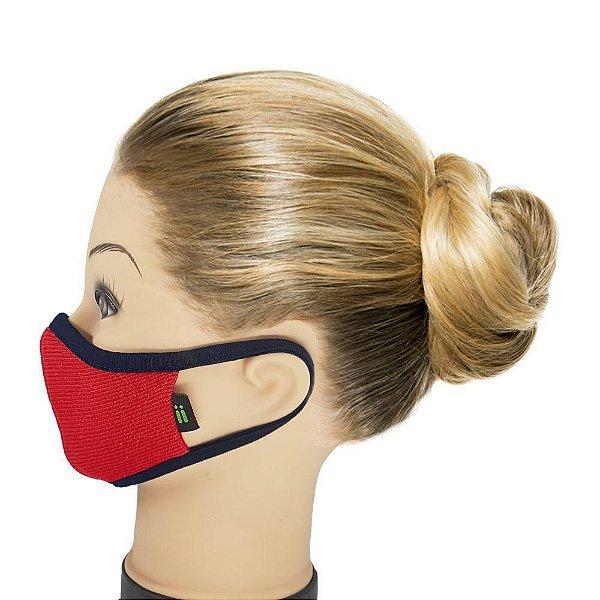 Máscara Vermelha Com Marinho - Tamanho Juvenil