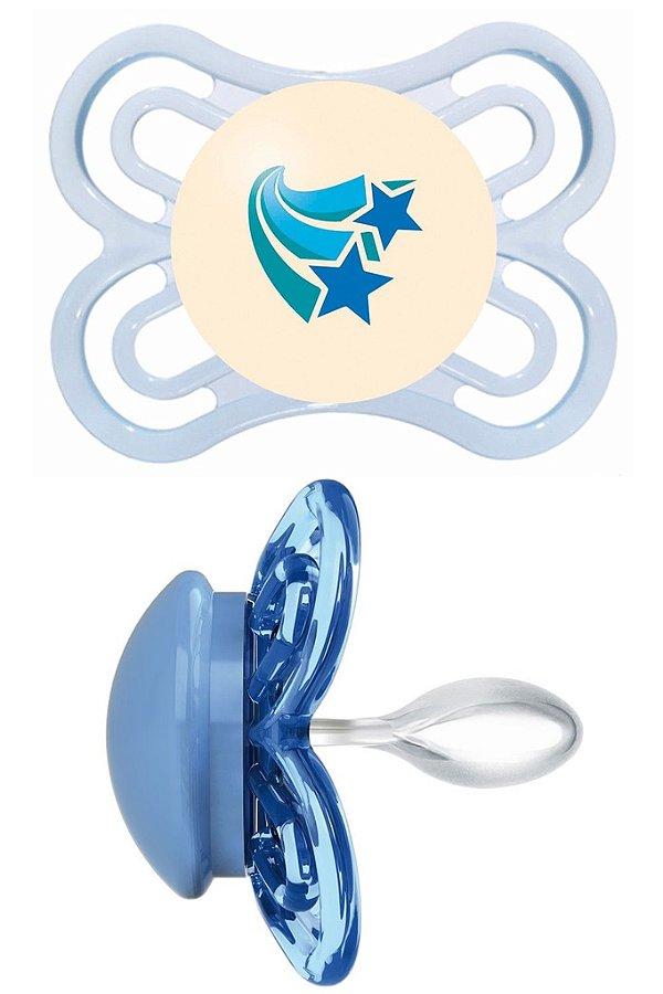 Chupeta MAM Perfect Silk Touch 0-6m Boys Estrelas Auto-esterilizável (Com botão que brilha no escuro)