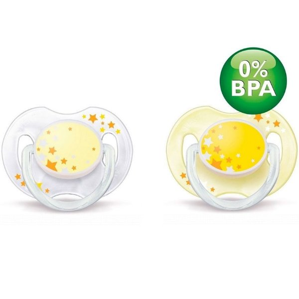 Chupeta Philips Avent Silicone Amarela 6 a 18 Meses - Night Time (Pack 2 unidades)