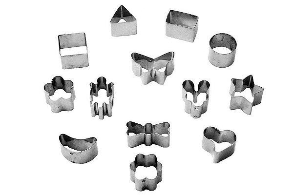 Conjunto de mini cortadores 13 peças inox