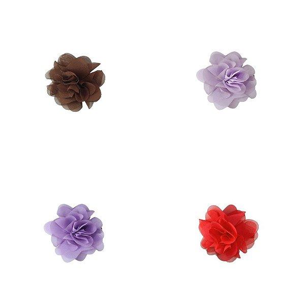 Flor para cabelo em Chiffon Gumii - Tamanho 5cm