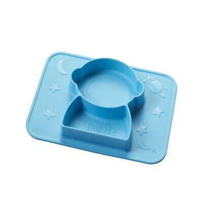 Prato de silicone com divisórias e sucção Astronauta Azul