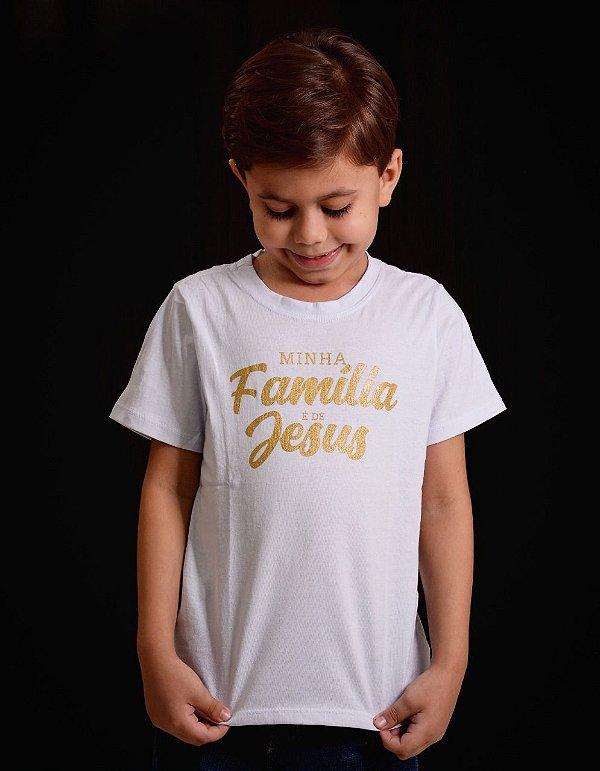 Camisa infantil minha familia é de jesus (branca)