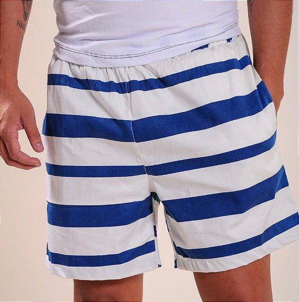 Short masculino (mauricinho) Azul/branco
