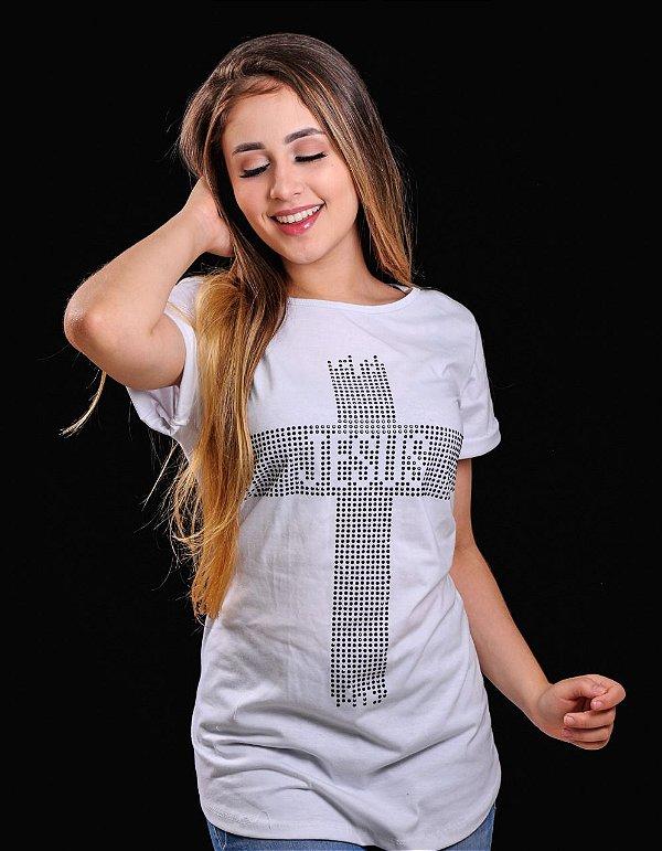 Bata cruz Jesus branca strass preto