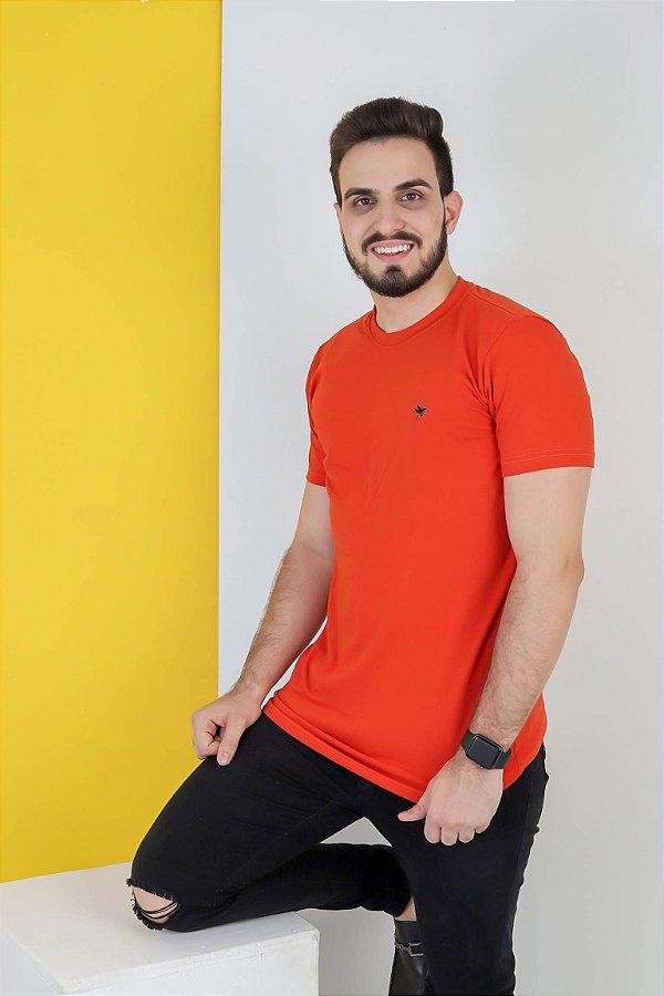Camisa lisa Hasum ( laranja ) tecido coton Especial (unissex)