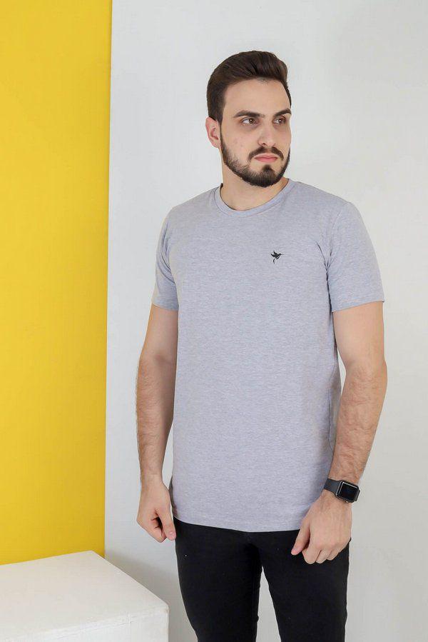 Camisa lisa Hasum ( cinza ) tecido coton Especial