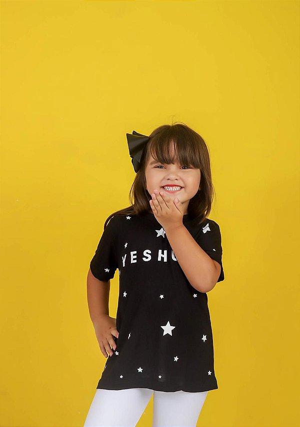 Camiseta infantil yeshua estrelas (cor preta)