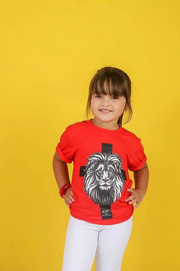 Camiseta infantil king of kings  (cor vermelha)
