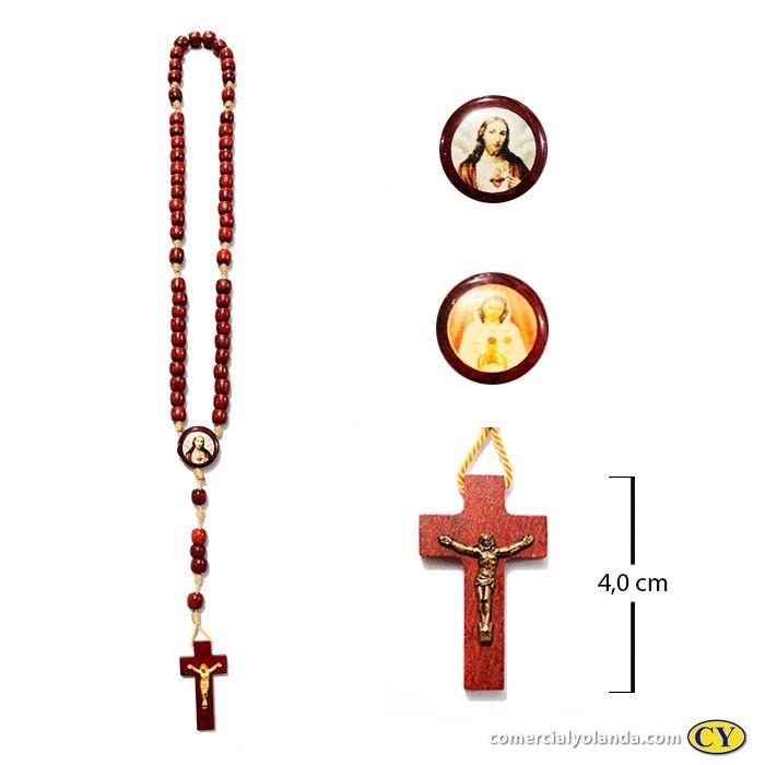 Terço em madeira de Rosa Mistica e Sagrado Coração de Jesus - A Dúzia - Cód.: 0893