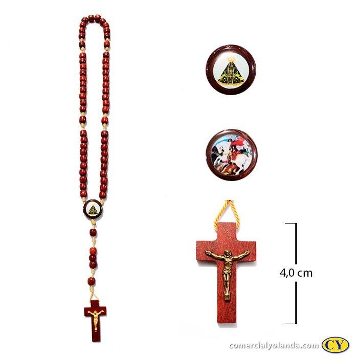 Terço em madeira de São Jorge e Nossa Senhora Aparecida - A Dúzia - Cód.: 0893