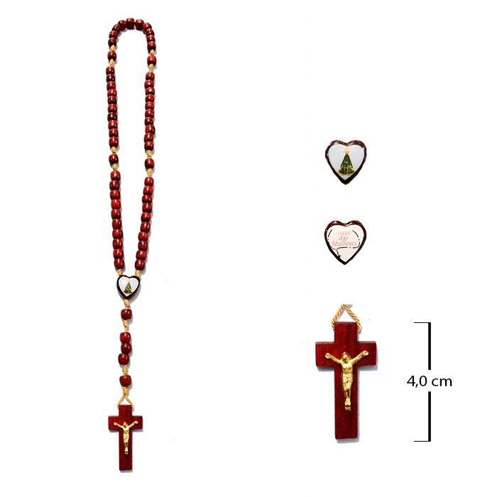 Terço das mulheres em madeira com Nossa Senhora Aparecida - A Dúzia - Cód.: 0893