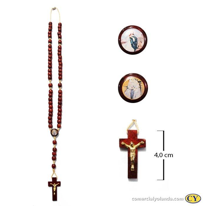 Terço em madeira de Nhá Chica e Imaculada Conceição com fecho - A Dúzia - 1019