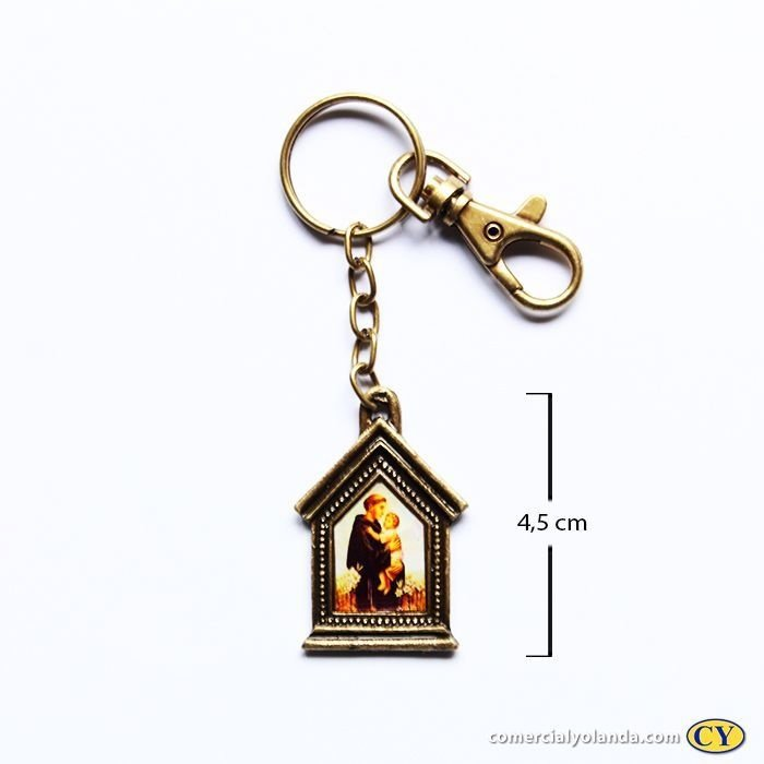 Chaveiro em metal capelinha de Santo Antonio - Pacote com 3 peças - Cód.: 3035