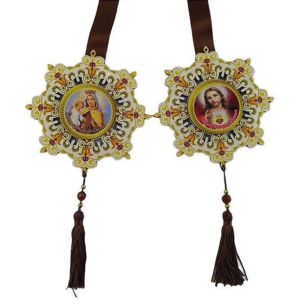 Escapulário de Porta - Sagrado Coração de Jesus e Nossa Senhora do Carmo - A peça - Cód.: 4482