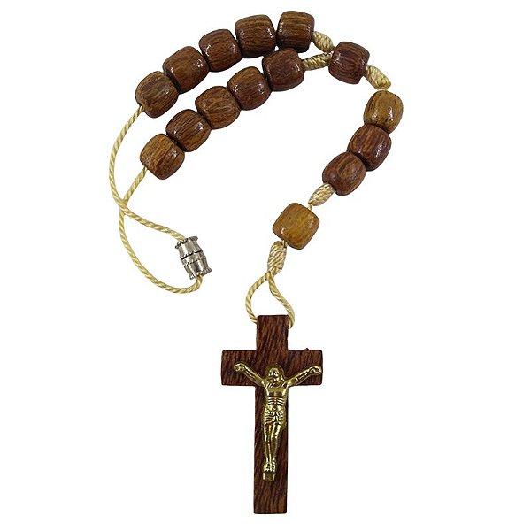 Dezena marrom com Cristo - com fecho - A Dúzia - Cód.: 4685