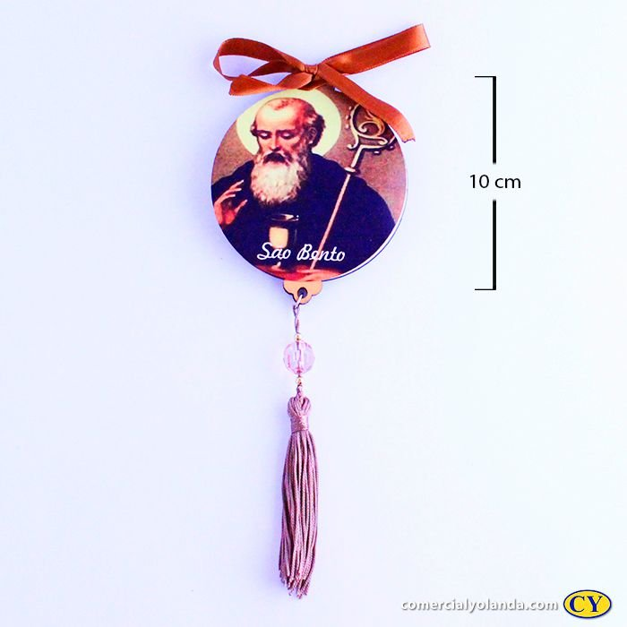 Enfeite Medalhão de parede em MDF com oração de São Bento - Pacote com 3 peças - Cód.: 043