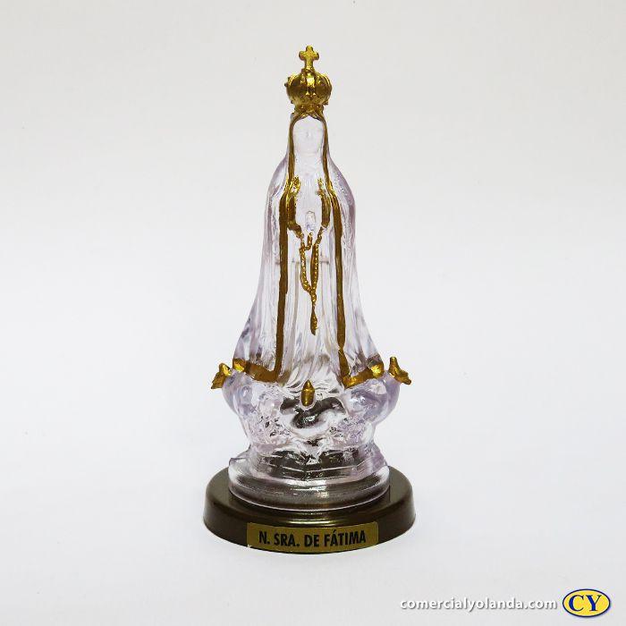 Imagem Nossa Senhora de Fátima plasticotransparente - base cor ouro velho - O Pacote com 3 peças - Ref.: IB.FA.65