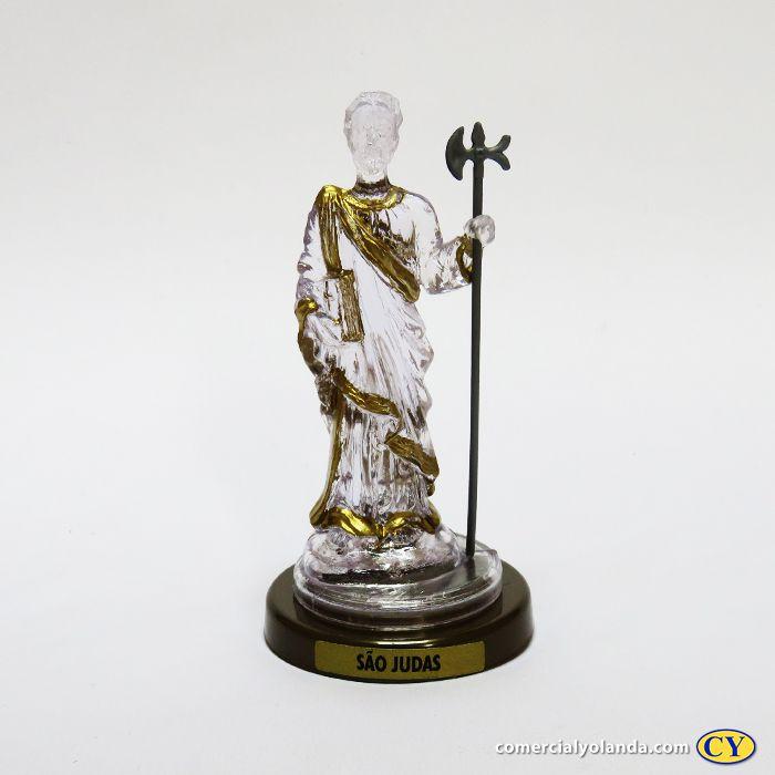 São Judas em plastico com base em cor ouro velho - O Pacote com 3 peças - Ref.: IB.SJ.65