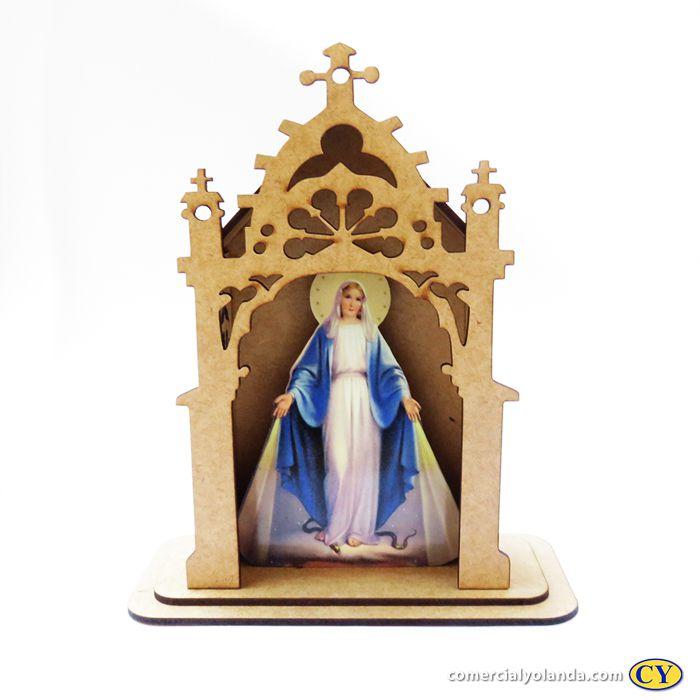 Capelinha em MDF de Nossa Senhora das Graças - Pacote com 3 peças - Cód.: 3172