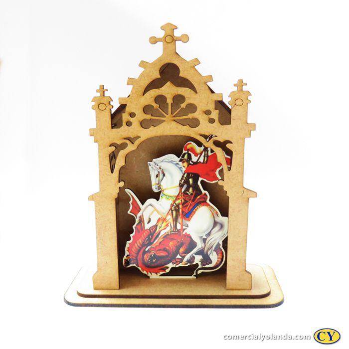 Capelinha em MDF de São Jorge - Pacote com 3 peças - Cód.: 3172