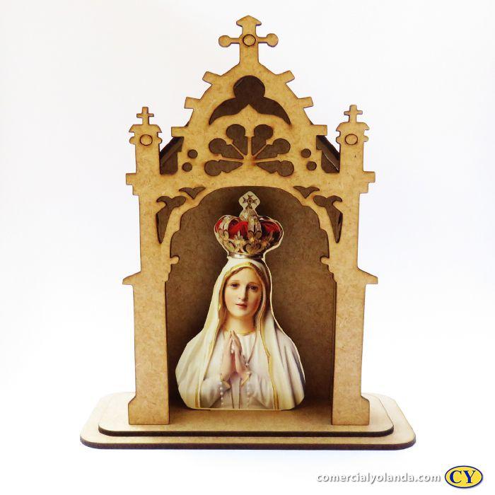 Capelinha em MDF de Nossa Senhora de Fátima - Pacote com 3 peças - Cód.: 3172