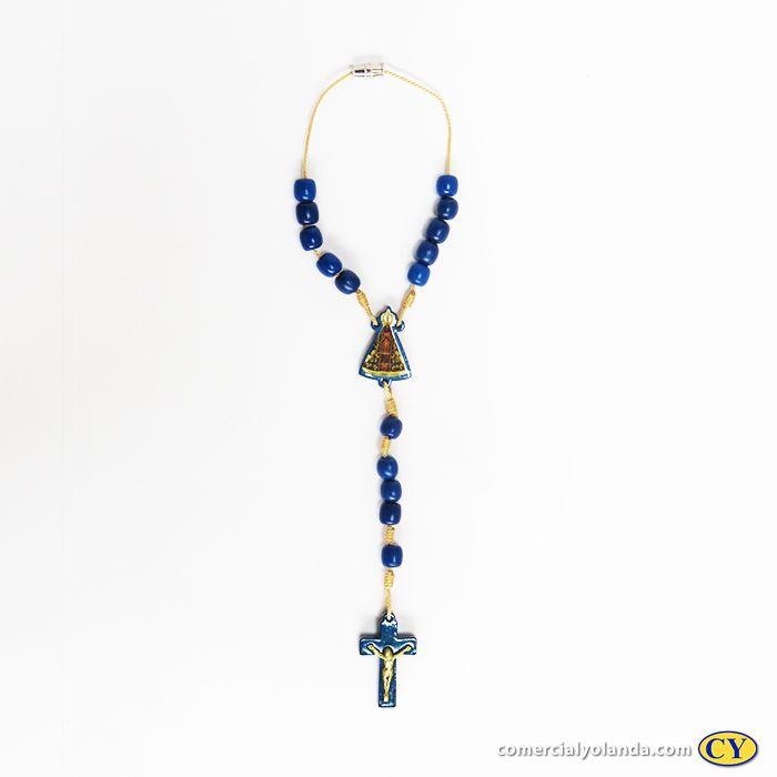 Dezena de Nossa Senhora Aparecida em madeira azul com fecho - A Dúzia - Cód.: 4887