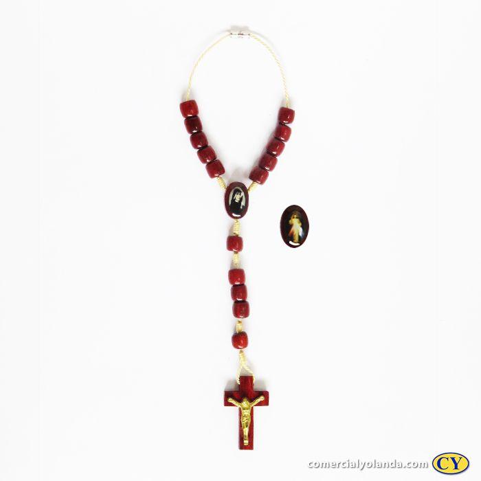Dezena em madeira com entremeio resinado de J. Misericordioso e Santa Faustina com fecho - A Dúzia - Cód.: 0881