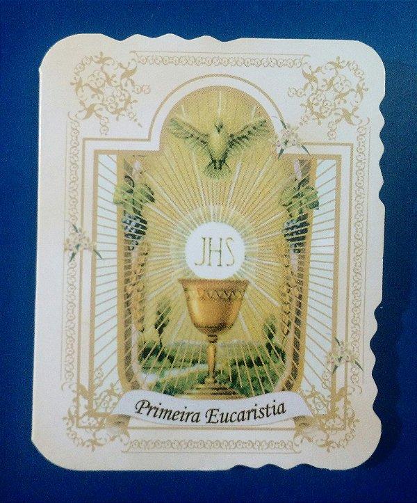 Cartão de Lembrança de Primeira Eucaristia com Dezena de terço - Pacote com 50 peças - Cód.: 1910