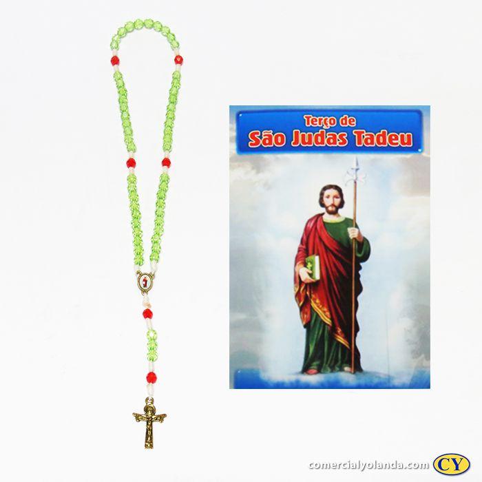 Terço com folheto de oração de São Judas Tadeu -Pacote com 6 peças - 1867