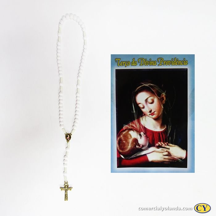 Terço com folheto de oração da Divina Providência - Pacote com 6 peças - 1950