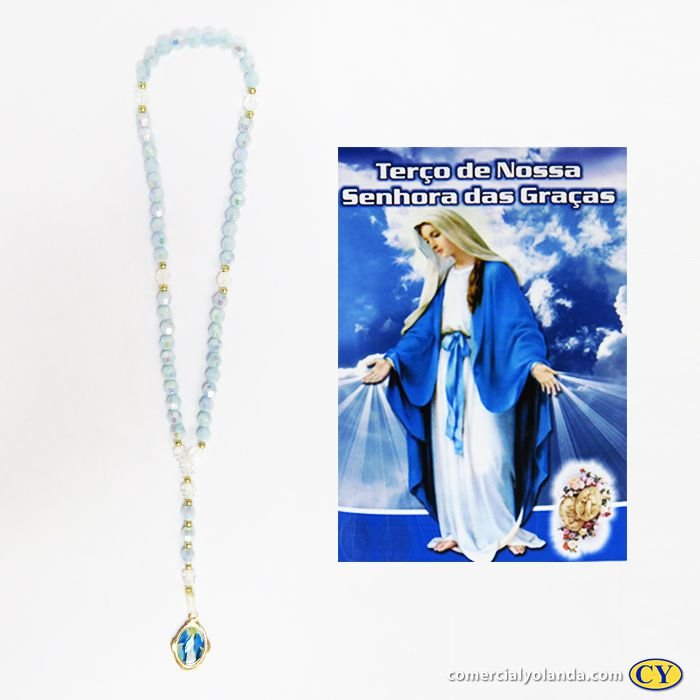Terço com folheto de oração de Nossa Senhora das Graças - Pacote com 6 peças - 2029