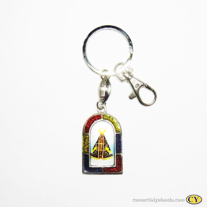 Chaveiro em metal Nossa Senhora Aparecida e Sagrado Coração de Jesus com mosquetão - O Pacote com 3 unidades - Cód.: 3700