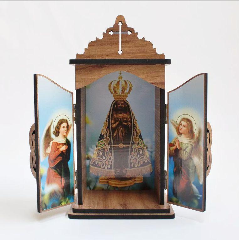 Oratório em madeira Nossa Senhora Aparecida - A Unidade - Cód.: 3931