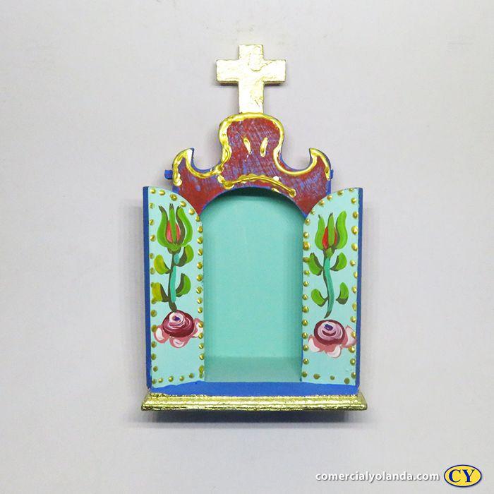 Oratório portas abertas em madeira barroco, cores variadas - A Unidade - Cód.: 4651