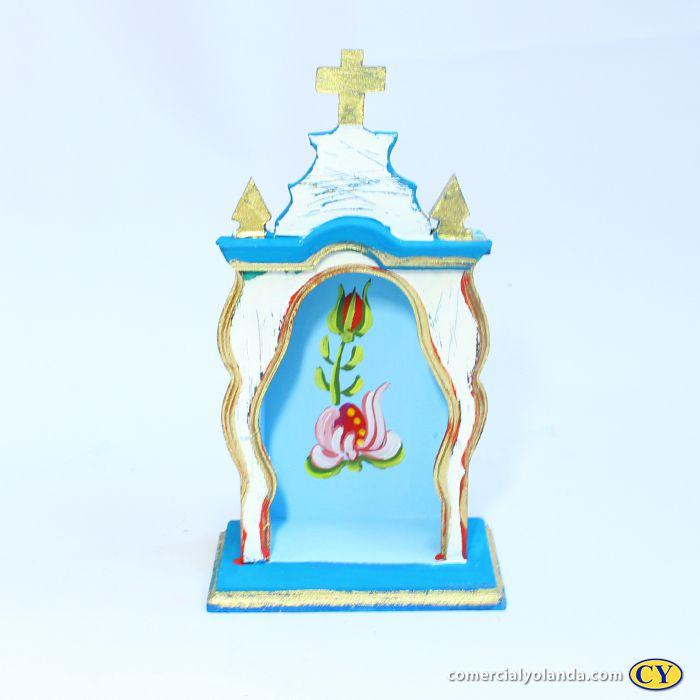 Oratório em madeira barroco Pequeno, cores variadas - A Unidade - Cód.: 7442