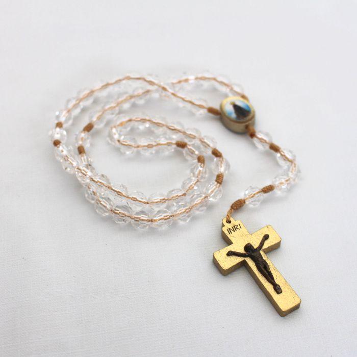 Terço Acrílico Entremeio Oval -  Nossa Senhora Aparecida e Coração de Jesus - A Dúzia - Cód.: 2120