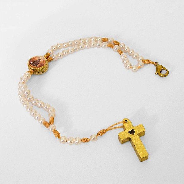 Terço pulseira perolada de Nossa Senhora Aparecida, em plastico com fecho - A Dúzia - Cód.: 3818