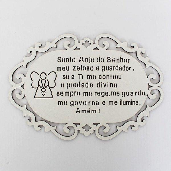 Plaquinha em MDF com oração, branco - pacote com 3 peças - Cód.: 9689