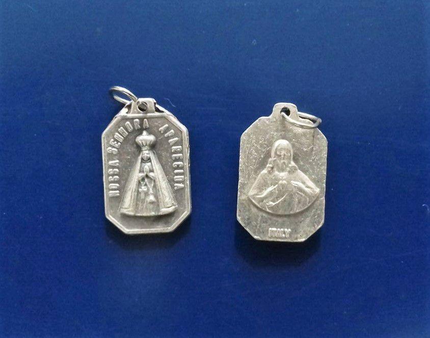 Medalha Fosca de Nossa Senhora do Aparecida e Sagrado Coração de Jesus - A Dúzia - Cód.: 3630