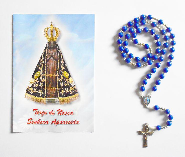 Terço com folheto de oração, Nossa Senhora Aparecida - Azul - A Dúzia - Cód.: 1859