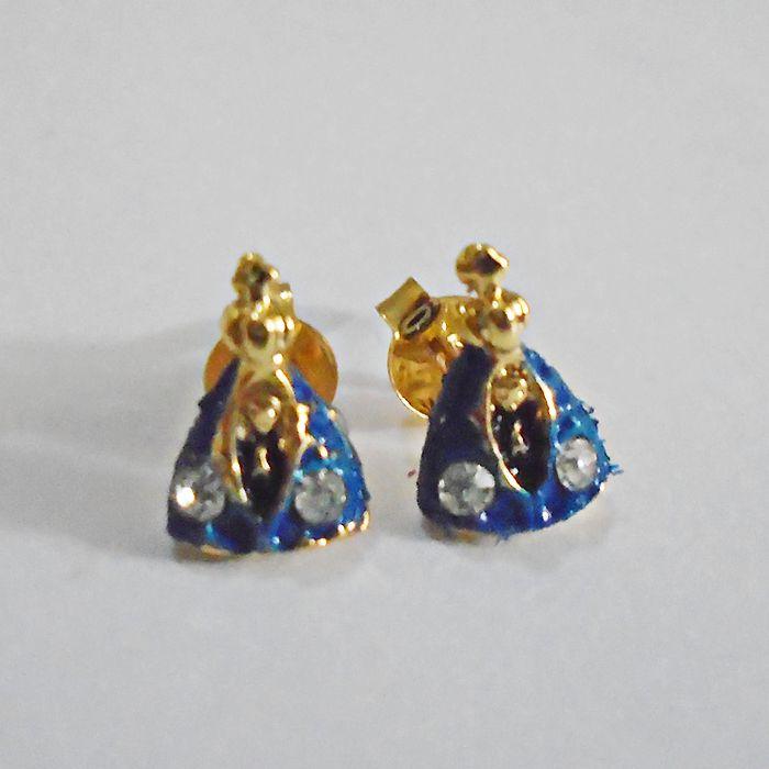 Brinco Azul e Dourado de Nossa Senhora Aparecida com Strass - Pacote com 3 pares - Cód.: 128
