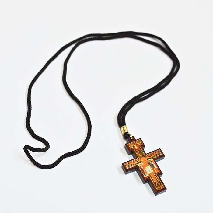 Crucifixo de São Damião resinado no cordão - A Dúzia - Cód.: 9134