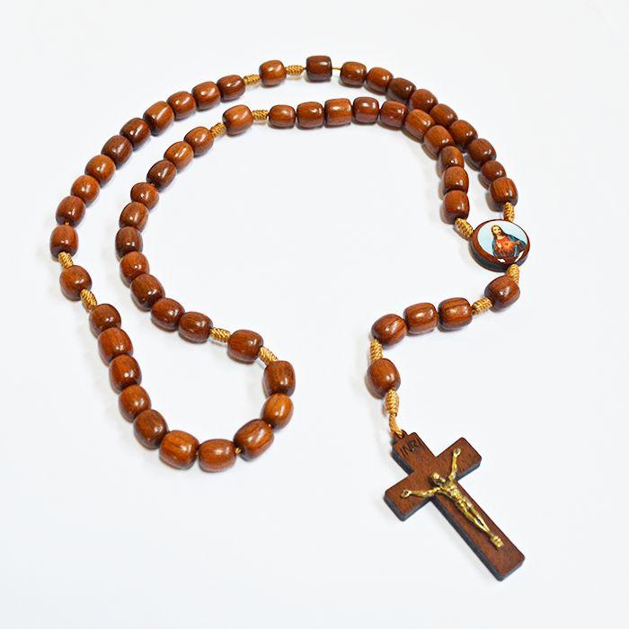 Terço contas 11mm Entremeio Resinado de Nossa Senhora Aparecida e Sagrado Coração de Jesus - O Pacote com 6 peças - Cód.: 9036