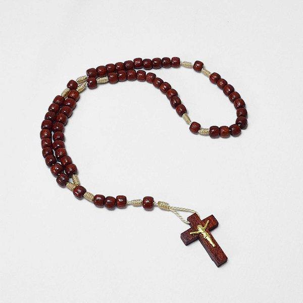 Mini Terço em madeira vermelha - Cruz com Cristo - A dúzia - Cód.: 8919