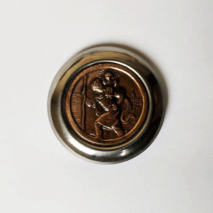 Imã de São Cristovão em metal - Pacote com 6 Peças - Cód.: 1550