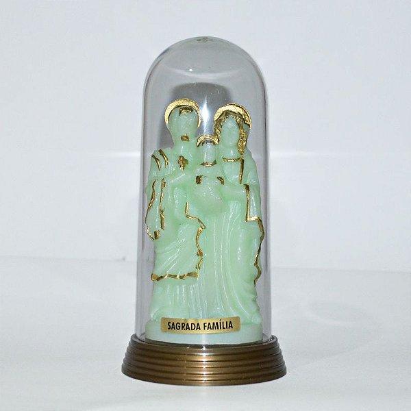 Sagrada Família fosforescente em base ouro velho com redoma - O Pacote com 3 peças