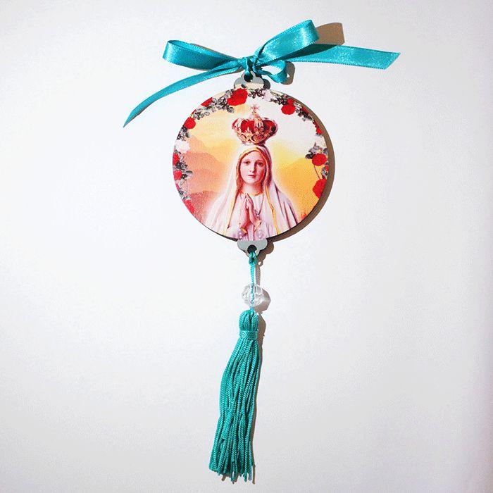 Enfeite Medalhão de parede em MDF com oração de Nossa Senhora de Fátima - Pacote com 3 peças - Cód.: 043
