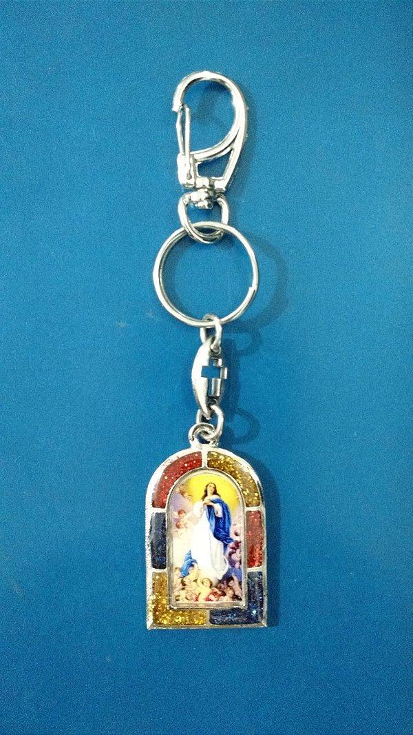 Chaveiro em metal Nossa Senhora da Imaculada Conceição com mosquetão - Pacote com 3 unidades - Cód.: 3700